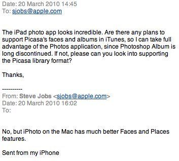 picasa ipad steve jobs mail