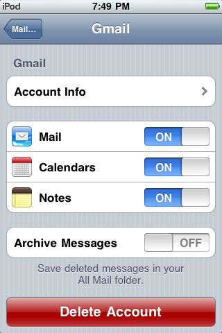 Enable Push for Gmail and Calendar
