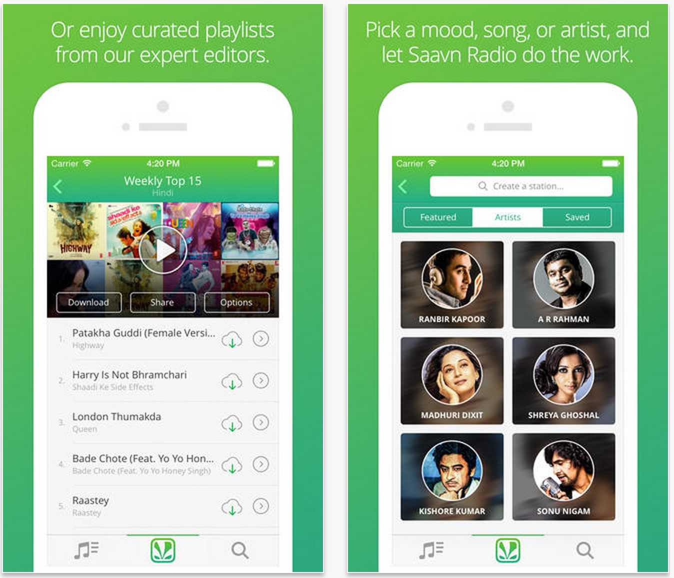 how to download songs from saavn app