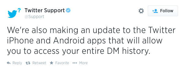 Twitter App to Receive Update With DM History and Consistent Deletion